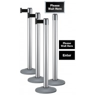 Lavi 4-Post Queue Pack with Signage Instant Queuing System, Chrome